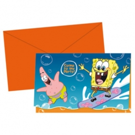6 Einladungs-Sets Sponge Bob