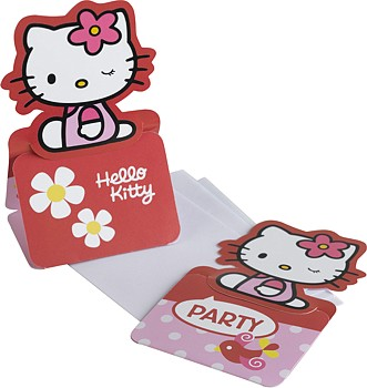 Hello Kitty Pink Party Einladungsset Karte und Couvert