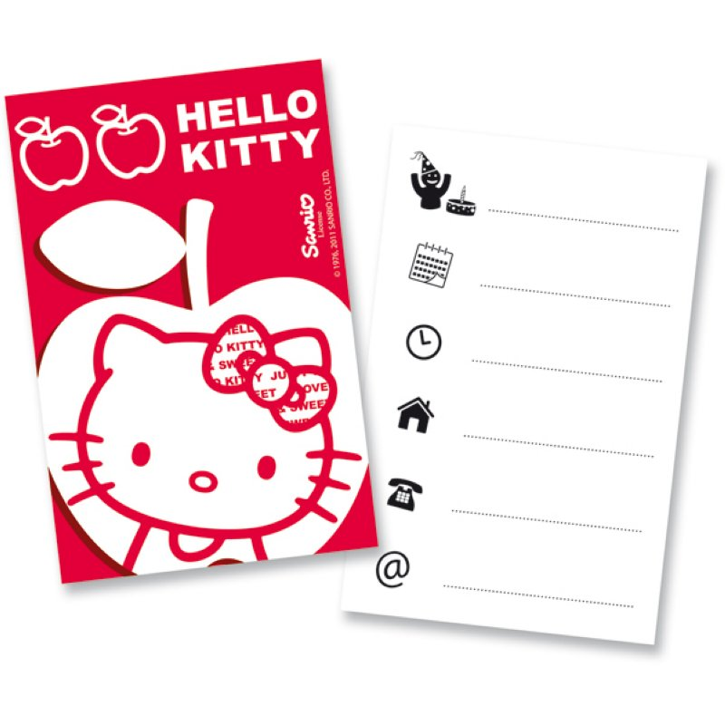Hello Kitty 6 Einladungskarten Apple